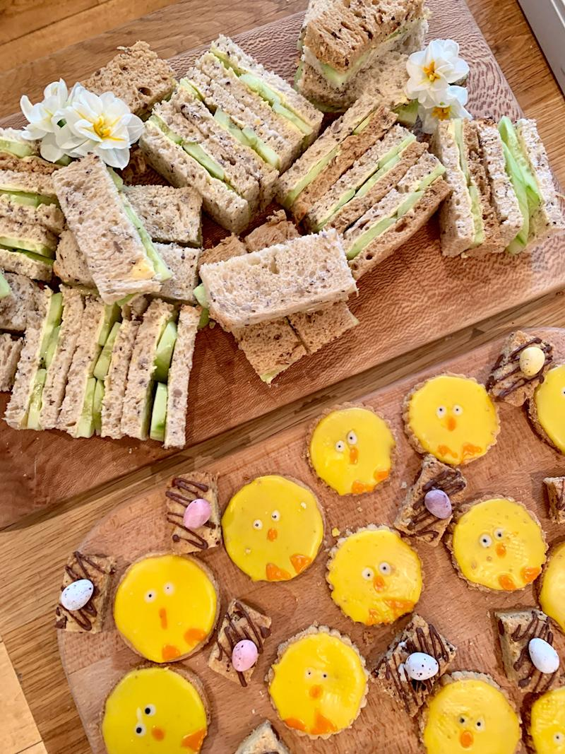 Cucumber sandwiches and baby chick biscuits for this afternoon's tea.