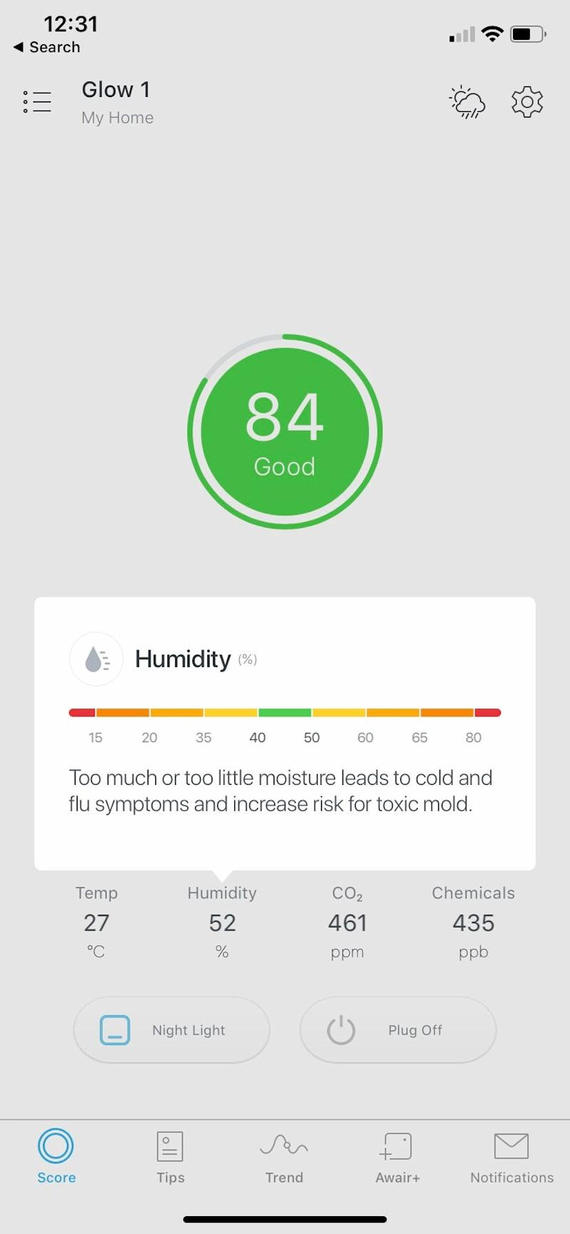 The Awair Glow C mobile app shows good air quality overall, but warns about rising humidity.