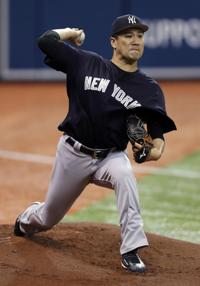 New York Yankees starting pitcher Masahiro Tanaka, of Japan, throws a bullpen session before a baseball game against the Tampa Bay Rays on Sunday, June 24, 2018, in St. Petersburg, Fla. (AP Photo/Chris O'Meara)