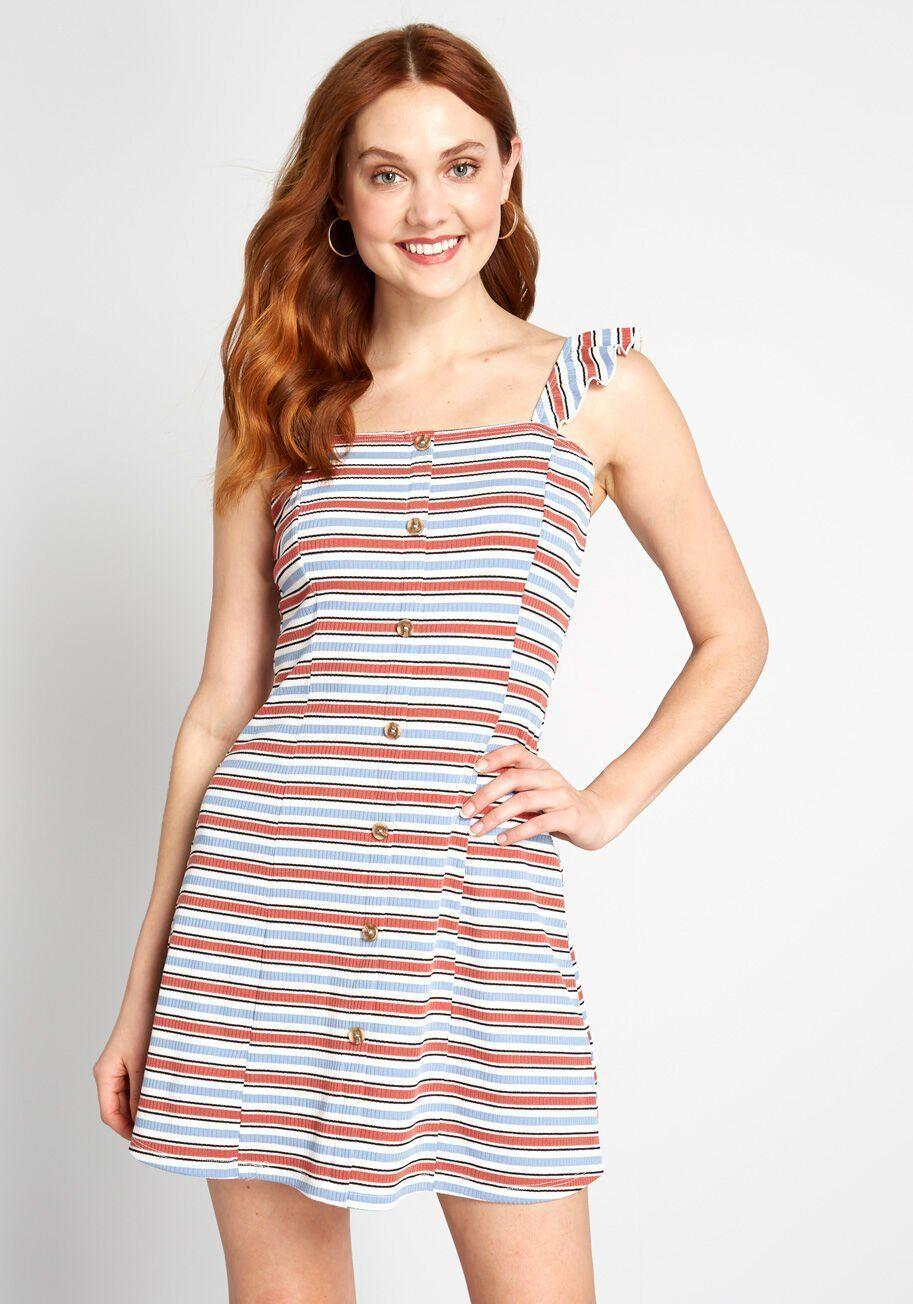 """<p><strong>Modcloth</strong></p><p>modcloth.com</p><p><strong>$59.00</strong></p><p><a href=""""https://go.redirectingat.com?id=74968X1596630&url=https%3A%2F%2Fwww.modcloth.com%2Fshop%2Fdresses%2Fin-pursuit-of-cute-mini-dress-in-pink-stripe%2F170304.html&sref=https%3A%2F%2Fwww.goodhousekeeping.com%2Fholidays%2Fg32302046%2Ffourth-of-july-outfit-ideas%2F"""" rel=""""nofollow noopener"""" target=""""_blank"""" data-ylk=""""slk:Shop Now"""" class=""""link rapid-noclick-resp"""">Shop Now</a></p><p>What's a better way to salute the USA than to wear a dress that has red, white, and blue stripes? You will be swimming in compliments when you show up to the party.</p>"""