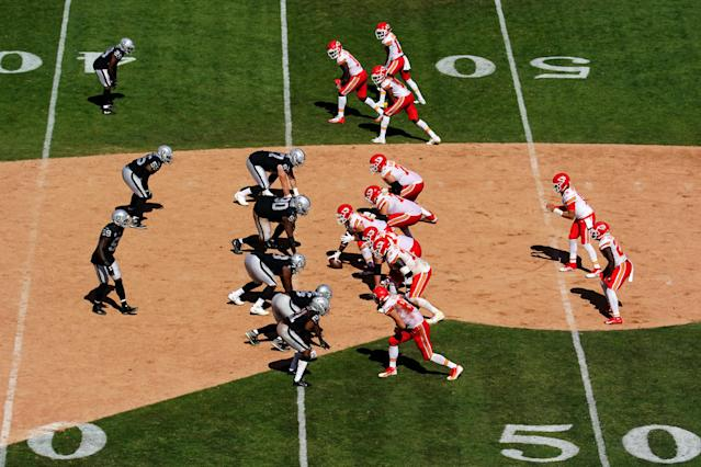 An NFL game on baseball dirt will be a relic from the past. (Photo by Daniel Shirey/Getty Images)