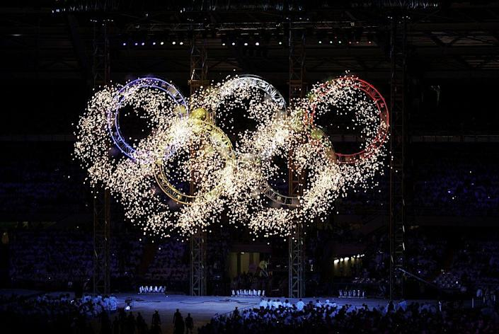 <p>The largest and tallest Olympic Rings were set up for the games and would be illuminated in fireworks in a memorable moment.</p>