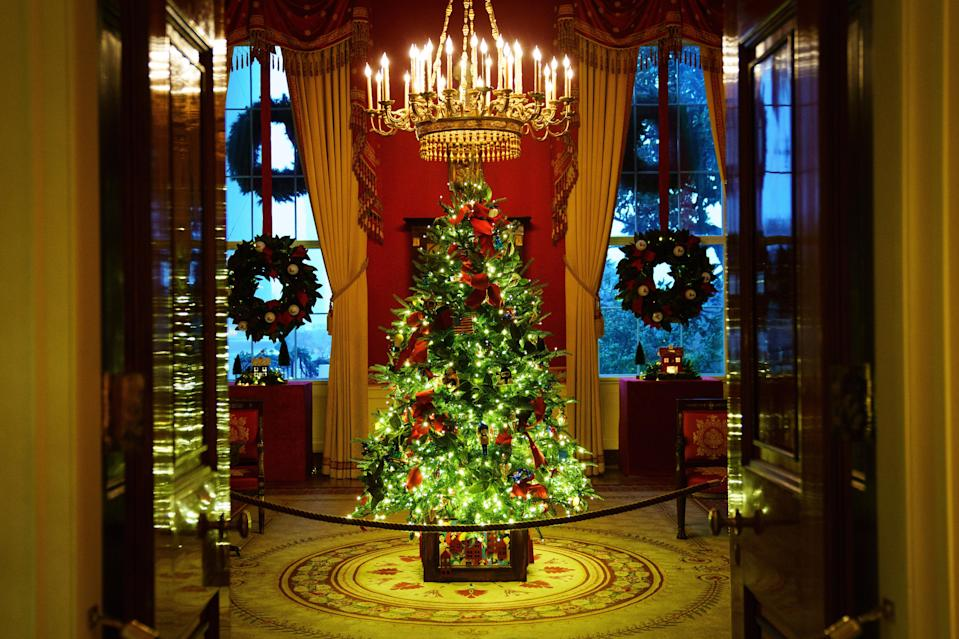 <p>Melania Trump unveils her final Christmas decorations at the White House in Twitter video after revelation she told friend 'who gives a f*** about Christmas things'</p> (Getty Images)
