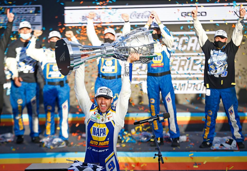 <em>Chase Elliott celebrates winning the 2020 NASCAR Cup Series championship after his victory at Phoenix Raceway (Patrick Breen/USA TODAY Sports Images).</em>