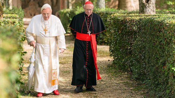 PHOTO: Anthony Hopkins and Jonathan Pryce in a scene from 'The Two Popes.' (Netflix)