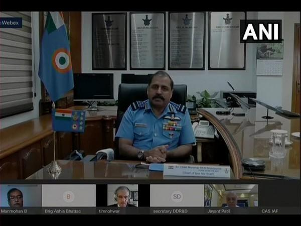 IAF chief Air Chief Marshal RKS Bhadauria speaking during the inaugural session of 15th international conference on energising Indian aerospace industry on Tuesday. [Photo/ANI]