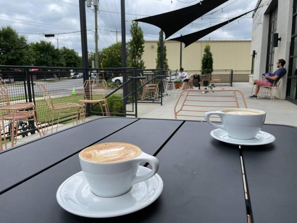 Hygge Coworker's Jay Street location has a Not Just Coffee with a patio.