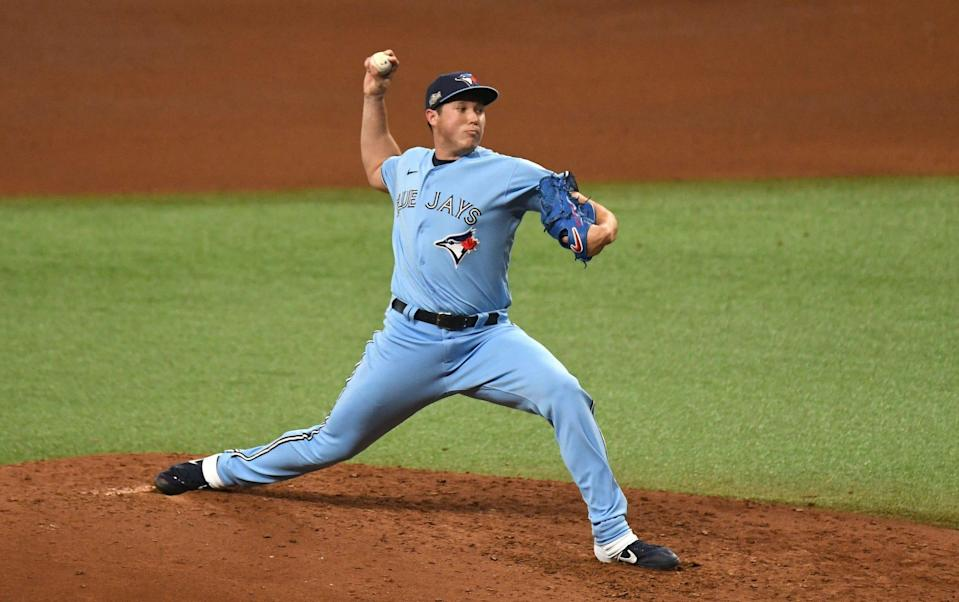 Right-hander Nate Pearson pitched in five games for the Blue Jays in 2020, with a 1-0 record and 6.00 ERA.