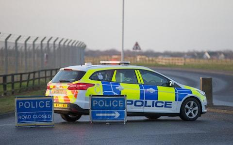 Police road block at RAF Mildenhall - Credit: GEOFF ROBINSON PHOTOGRAPHY
