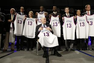 Jerry Tarkanian, front, sits with his fellow inductees during the 2013 Hall of Fame announcement. (AP)