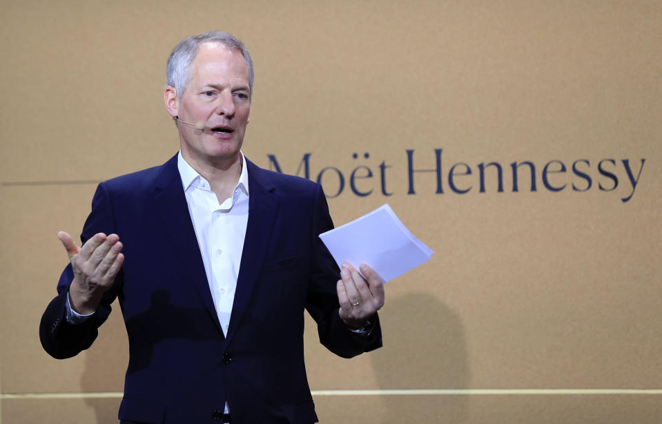 FILE - In this Feb. 10, 2020 file photo, Moet Hennessy President and CEO Philippe Schaus speaks during a news conference at the wine fair in Paris. Moet Hennessy is acquiring a 50% stake in rapper and entrepreneur Jay-Z's Champagne brand, Armand de Brignac, in an effort to up its cool factor and expand sales. Schaus said Armand de Brignac breaks barriers and reflects contemporary ideas of luxury. (AP Photo/Michel Euler, File)