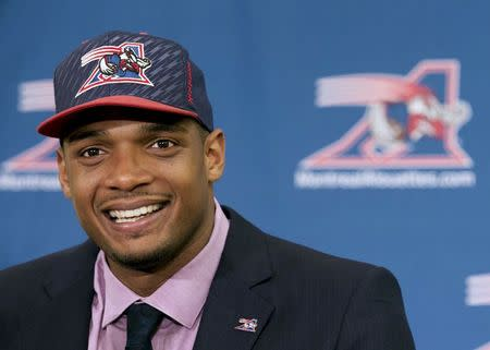 Newly signed defensive end Sam smiles as he is introduced to the media by the Montreal Alouettes CFL football team in Montreal