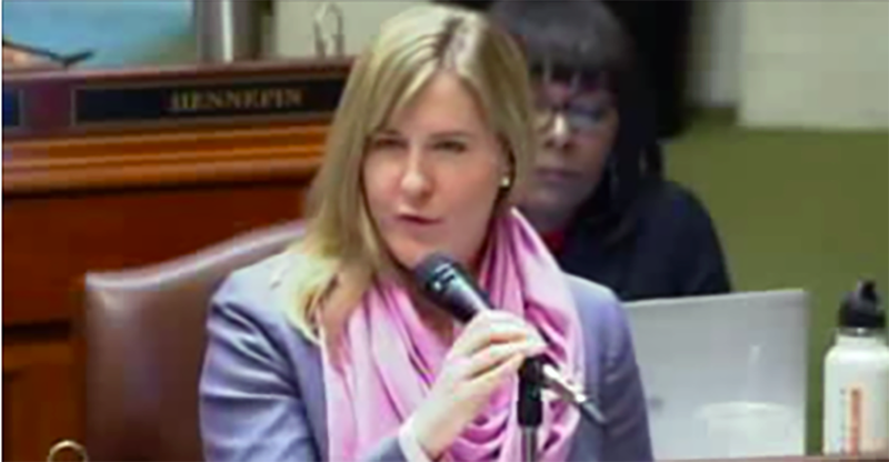 Melissa Hortman called out her white male colleagues in the Minnesota state House for failing to show up for speeches by women of color. (YouTube)
