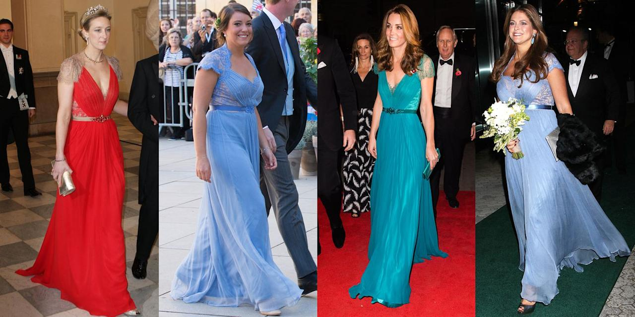 """<p><a rel=""""nofollow"""" href=""""https://www.townandcountrymag.com/style/fashion-trends/news/a9566/jenny-packham-fashion-show/"""">Designer Jenny Packham</a>'s gowns are a royal favorite, and not just of the Brits'. Here are four different occasions when princesses wore her style:</p><p><strong>From left to right: </strong>Alexandra Princess of Sayn-Wittgenstein-Berleburg celebrated Queen Margrethe's 40th jubilee in a crimson version of Jenny Packham's dress back in January of 2012.</p><p>Princess Alexandra of Luxembourg attended the wedding of Prince Felix of Luxembourg and Claire Lademacher wearing a purply-blue gown on September 21, 2013.</p><p>Catherine, Duchess of Cambridge arrived at <a rel=""""nofollow"""" href=""""https://www.townandcountrymag.com/style/fashion-trends/a24753075/kate-middleton-jenny-packham-dress-tusk-conservation-awards-2018-photos/"""">the Tusk Conservation Awards</a> in November 2018 wearing jade green version of the dress.</p><p>Princess Madeleine of Sweden attended a gala in New York in the same number in October of 2013.<br></p>"""