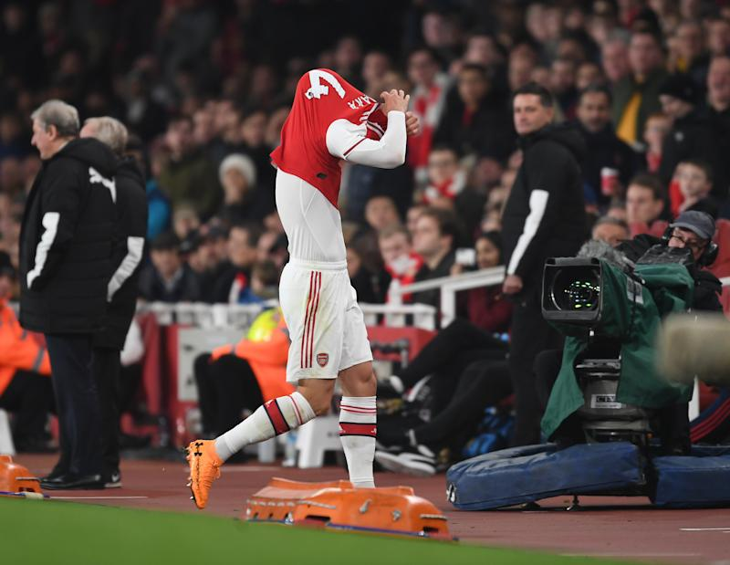 LONDON, ENGLAND - OCTOBER 27: Arsenal captain Granit Xhaka walks off the pitch after his substitution the Premier League match between Arsenal FC and Crystal Palace at Emirates Stadium on October 27, 2019 in London, United Kingdom. (Photo by Stuart MacFarlane/Arsenal FC via Getty Images)