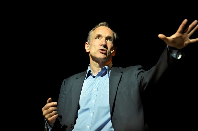 FILE PHOTO: World Wide Web founder Berners-Lee delivers a speech at the Bilbao Web Summit in the Palacio Euskalduna.