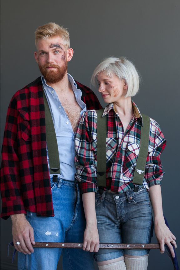 """<p>Apparently the lumberjack look will never quite go out of style, so why not channel it this Halloween with this easy couples getup? You can even use real dirt if you don't have brown face paint to look appropriately grungy.</p><p><strong>Get the tutorial at <a href=""""https://sayyes.com/2013/10/easy-and-last-minute-couples-costumes-pt-2"""" rel=""""nofollow noopener"""" target=""""_blank"""" data-ylk=""""slk:Say Yes"""" class=""""link rapid-noclick-resp"""">Say Yes</a>.</strong></p><p><a class=""""link rapid-noclick-resp"""" href=""""https://www.amazon.com/realistic-foam-Felling-Cosplay-Weapon/dp/B07627R26W/ref=pd_lpo_21_t_1/147-5981525-2535408?tag=syn-yahoo-20&ascsubtag=%5Bartid%7C10050.g.4616%5Bsrc%7Cyahoo-us"""" rel=""""nofollow noopener"""" target=""""_blank"""" data-ylk=""""slk:SHOP AXES"""">SHOP AXES</a><br></p>"""