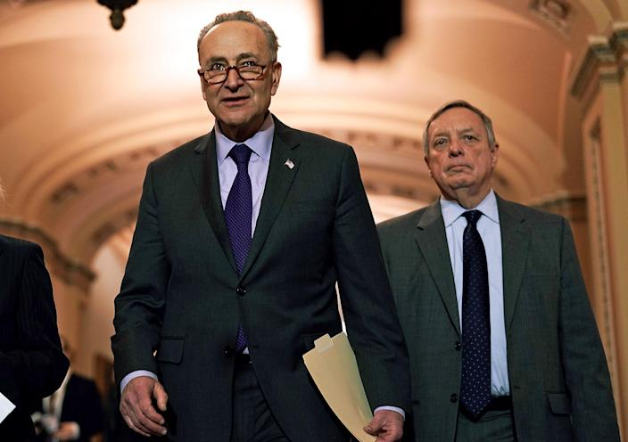 Image: Chuck Schumer and Dick Durbin (Alex Wong / Getty Images file)