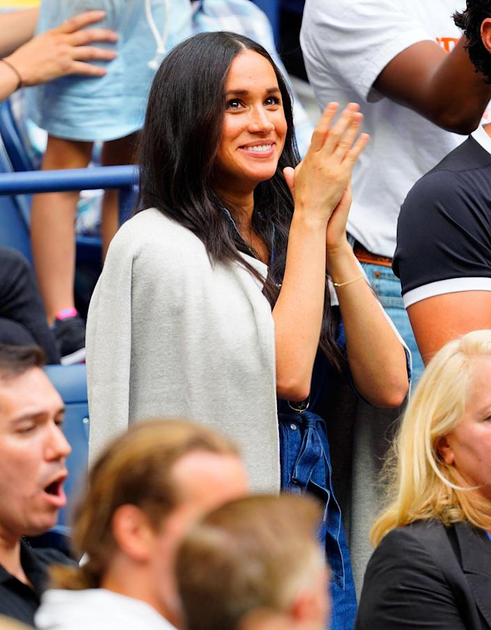 """<p>In September 2019, Markle was on hand to cheer on her pal, Serena Williams, at the U.S. Open Women's Final in Queens, New York. </p> <p>""""The crowd went wild when they showed her on the screen,"""" a <a href=""""https://people.com/royals/meghan-markle-best-faces-serena-williams-us-open-finals/?slide=7274752#7274752"""" rel=""""nofollow noopener"""" target=""""_blank"""" data-ylk=""""slk:spectator told PEOPLE."""" class=""""link rapid-noclick-resp"""">spectator told PEOPLE.</a> """"They did it as soon as they possibly could — it was the very first break in action.""""</p>"""