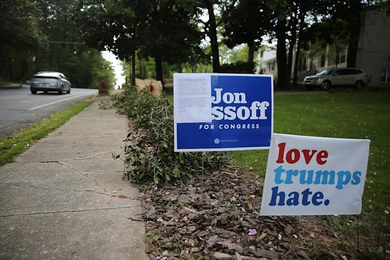 Campaign signs for Democratic candidate Jon Ossoff in Atlanta.