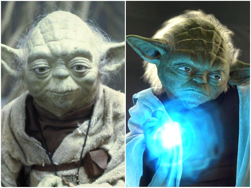 The puppet Yoda in the original Star Wars films, and his CGI replacement in 'Attack of the Clones' (Lucasfilm/Disney/Shutterstock)