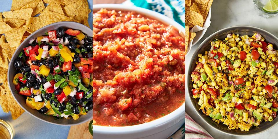 """<p>Nothing, I repeat - nothing compares to a platter-full of tortilla chips paired with overfilled bowls of <a href=""""https://www.delish.com/uk/cooking/recipes/a29947768/best-ever-guacamole-recipe/"""" rel=""""nofollow noopener"""" target=""""_blank"""" data-ylk=""""slk:homemade guac"""" class=""""link rapid-noclick-resp"""">homemade guac</a>, sour cream and (of course) <a href=""""https://www.delish.com/uk/cooking/a32570797/easy-homemade-salsa-recipe/"""" rel=""""nofollow noopener"""" target=""""_blank"""" data-ylk=""""slk:salsa"""" class=""""link rapid-noclick-resp"""">salsa</a>. It's the perfect snack. And it's beyond simple to make. With everything from <a href=""""https://www.delish.com/uk/cooking/a32570797/easy-homemade-salsa-recipe/"""" rel=""""nofollow noopener"""" target=""""_blank"""" data-ylk=""""slk:Classic Tomato Salsas"""" class=""""link rapid-noclick-resp"""">Classic Tomato Salsas</a> to <a href=""""https://www.delish.com/uk/cooking/recipes/a31220259/blueberry-salsa-recipe/"""" rel=""""nofollow noopener"""" target=""""_blank"""" data-ylk=""""slk:Blueberry Salsas"""" class=""""link rapid-noclick-resp"""">Blueberry Salsas</a> and even <a href=""""https://www.delish.com/uk/cooking/recipes/a35346040/best-corn-salsa-recipe/"""" rel=""""nofollow noopener"""" target=""""_blank"""" data-ylk=""""slk:Grilled Corn Salsas"""" class=""""link rapid-noclick-resp"""">Grilled Corn Salsas</a>, the snacking opportunities are endless. </p><h4 class=""""body-h4"""">Salsa vs Pico De Gallo</h4><p>People often get confused between the two, as they're very similar! But the main difference is that pico de gallo tends to be made from uncooked ingredients (you'll see below, we've got some grilled salsas), and much chunkier in comparison to salsa. </p><p>You'll notice that salsa can have a thinner consistency with more liquid (especially if it's been blended). While pico de gallo doesn't get blended and is typically just small diced ingredients that are distinctly visible. </p><h4 class=""""body-h4"""">How Do You Make Salsa?</h4><p>Salsa making can be as simple as chopping up your chosen ingredients, tossing them in some oil, throwing t"""