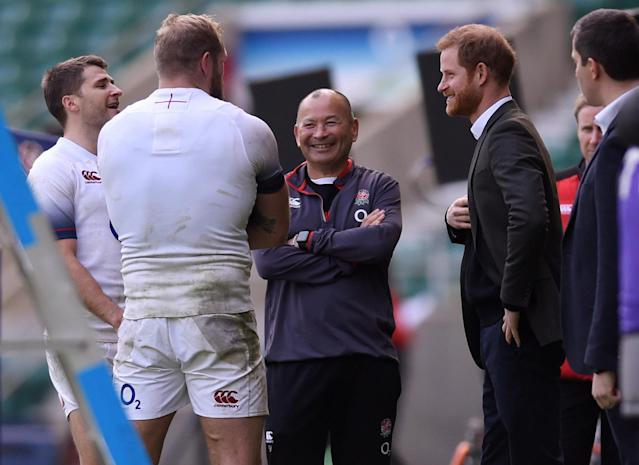 Rugby Union - England Training - Twickenham Stadium, London, Britain - February 16, 2018 Britain's Prince Harry talks to head coach Eddie Jones, James Haskell and Richard Wigglesworth at the training session Action Images via Reuters/Adam Holt