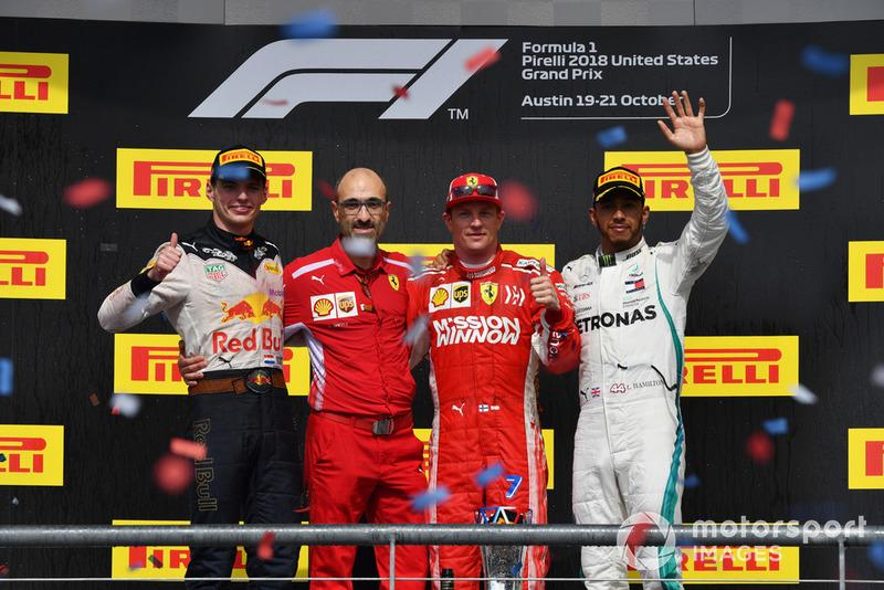 "(L to R): Max Verstappen, Red Bull Racing, Carlo Santi, Ferrari Race Engineer, Race Winner Kimi Raikkonen, Ferrari and Lewis Hamilton, Mercedes AMG F1 celebrate on the podium <span class=""copyright"">Mark Sutton / Motorsport Images</span>"