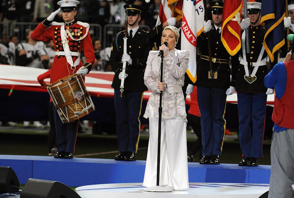 Pink performs the national anthem prior to the start of Super Bowl LII between the Philadelphia Eagles and New England Patriots. (Getty Images)