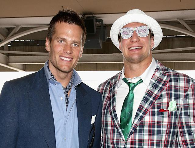 "<a class=""link rapid-noclick-resp"" href=""/nfl/players/24017/"" data-ylk=""slk:Rob Gronkowski"">Rob Gronkowski</a> (right, with unidentified friend) will not see his namesake horse run at this year's Kentucky Derby. (Getty)"