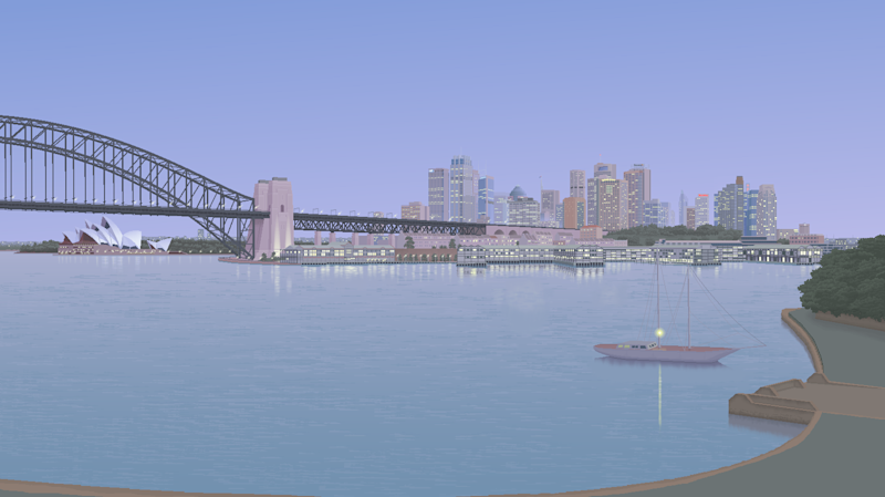 Pictured is a drawing of Sydney Harbour from Blues Point using MS Paint.