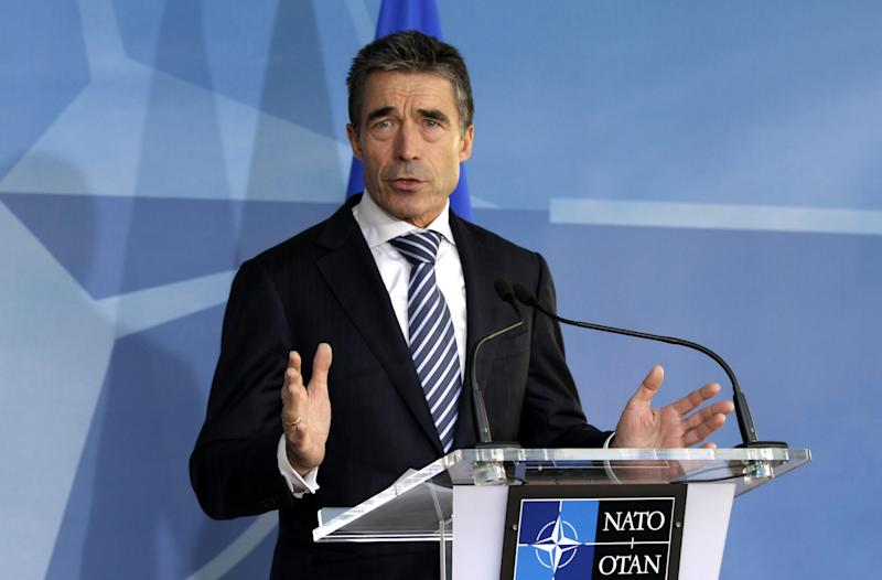 NATO Secretary General Anders Fogh Rasmussen speaks during a media conference prior to a meeting of NATO Defense Ministers at NATO headquarters in Brussels on Tuesday, Oct. 9, 2012. NATO defense leaders gathering for a two-day meeting in Brussels, are committed to the war in Afghanistan, according to U.S. and alliance officials, but there are growing signs that the Afghan political and military hostilities against the coalition are starting to wear on the coalition. (AP Photo/Virginia Mayo)