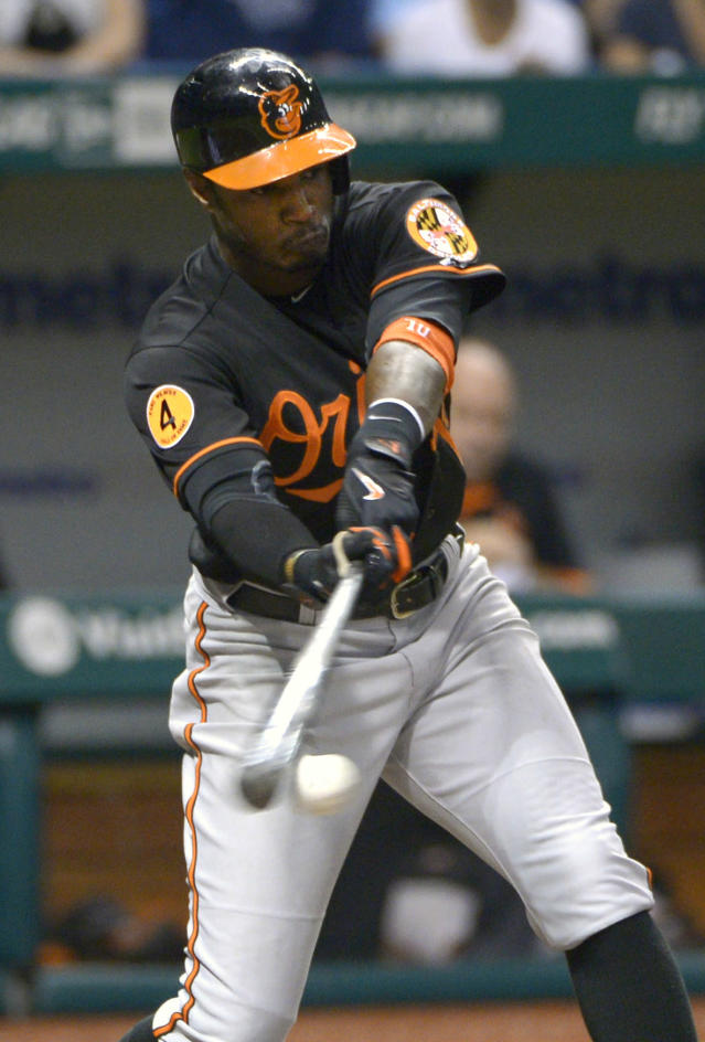 Baltimore Orioles' Adam Jones (10) hits an RBI single in the fifth inning of a baseball game against the Tampa Bay Rays in St. Petersburg, Fla., Friday, Sept. 20, 2013.(AP Photo/Phelan M. Ebenhack)