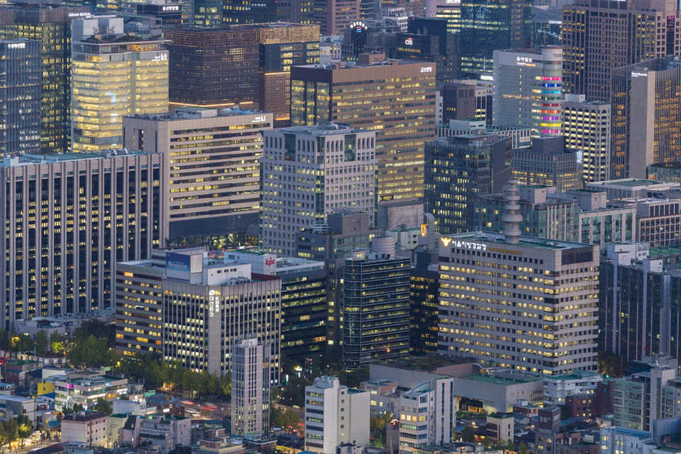 Seoul, South Koera - Oct 24, 2019: Aerial view of office buildings in Seoul CBD
