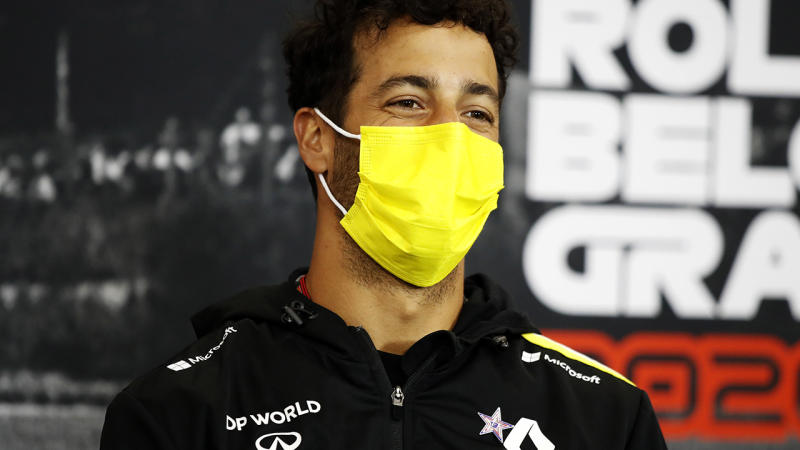 Renault's Daniel Ricciardo is pictured during a Formula One press conference.