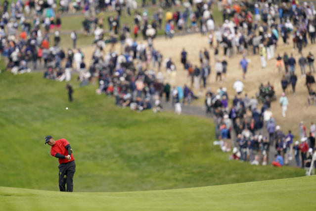 Tiger Woods hits from the fairway on the sixth hole during the final round of the U.S. Open Championship golf tournament Sunday, June 16, 2019, in Pebble Beach, Calif. (AP Photo/David J. Phillip)