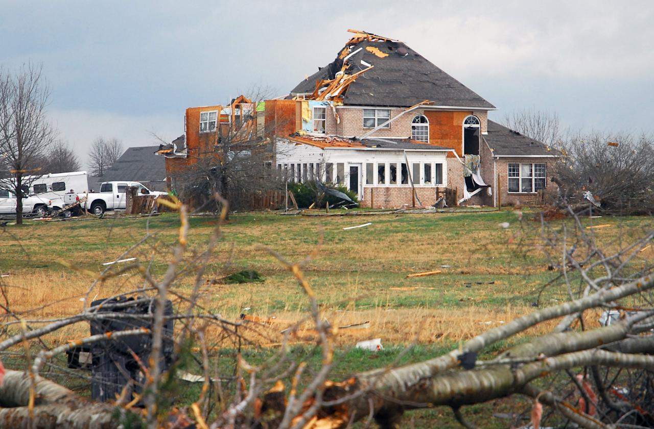 A home in Athens, Ala., was heavily damaged by a strong storm on Friday, March 2, 2012.  A reported tornado destroyed several houses in northern Alabama as storms threatened more twisters across the region Friday(AP Photo/Athens News Courier, Jean Cole)