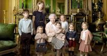<p>We can't handle the amount of cuteness in this photo! Queen Elizabeth II is surrounded by her great grandchildren including George in a navy cardigan and red shorts. [Photo: Annie Leibovitz] </p>