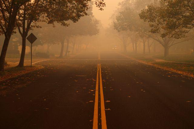 A deserted street is seen during the wind-driven Kincade Fire in Windsor, California on Oct. 27.