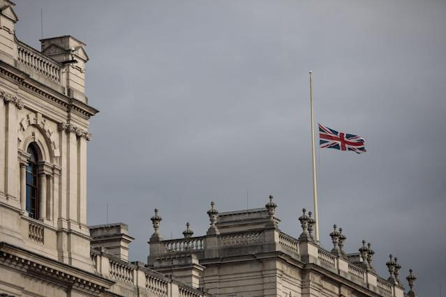 <p>The Union flag flies at half mast above the Department for Culture Media and Sport on Whitehall on May 23, 2017 in London, England. (Jack Taylor/Getty Images) </p>