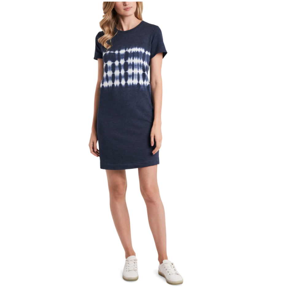 VInce Camuto Tie Dye T-Shirt Dress in Rich Navy