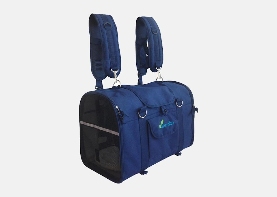 """<p>This multi-use 6-in-1 pet carrier is for travelers who love having a ton of options: It can be worn as a backpack, front pack, shoulder bag, hand bag, two-position carrier, or used as a car seat crate. Plus, the flexible frame helps keep its shape no matter which way you're carrying it, leaving your pet with plenty of room to lounge in. It comes in three sizes based on weight, with the largest made for pets up to 19 pounds.</p> <p><strong>Buy now:</strong> <a href=""""https://amzn.to/3fQFyx8"""" rel=""""nofollow noopener"""" target=""""_blank"""" data-ylk=""""slk:From $65, amazon.com"""" class=""""link rapid-noclick-resp"""">From $65, amazon.com</a></p>"""