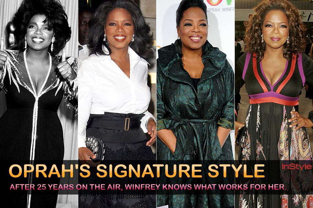 Oprah Winfrey's final show airs on Wednesday, and while the talk show queen has gone through her share of hairstyles (Pixies! Shags! Perms!) and trends (Shoulder pads! Cowboy boots!), she always returns to her fashion standbys. After 25 years on the air, Winfrey knows what works for her.