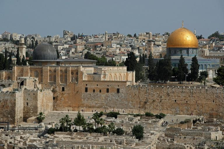 A picture taken from the Mount of Olives shows a partial view of the Old City of Jerusalem with the Dome of the Rock and the al-Aqsa Mosque, the third holiest site in Islam