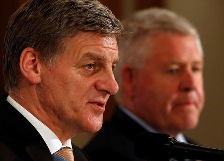 New Zealand Prime Minister Bill English (L) and New Zealand Rugby Union CEO Steve Tew attend a joint news conference with Japan Rugby Football Union President Tadashi Okamura (not pictured) in Tokyo, Japan May 17, 2017. REUTERS/Issei Kato