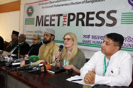 Tanya Foster, a Canadian citizen who observed elections in Bangladesh as a representative of SAARC Human Rights Foundation, speaks at a news conference organised by the group after the election in Dhaka, Bangladesh, December 31, 2018. REUTERS/Stringer