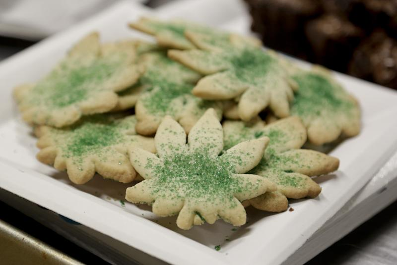 Cookies shaped like marijuana leafs are pictured at the Cannabis Carnivalus 4/20 event in Seattle, Washington April 20, 2014. (Reuters)