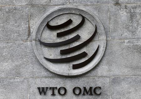 A WTO logo is pictured on their headquarters in Geneva