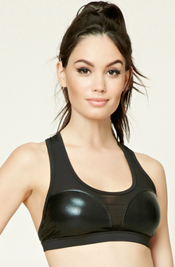 f5cb6c664e This Forever 21 black sports bra with cutout detailing down the front (  14.90) is a great alternative for a crop top. Pair it with a fuzzy faux fur  coat and ...
