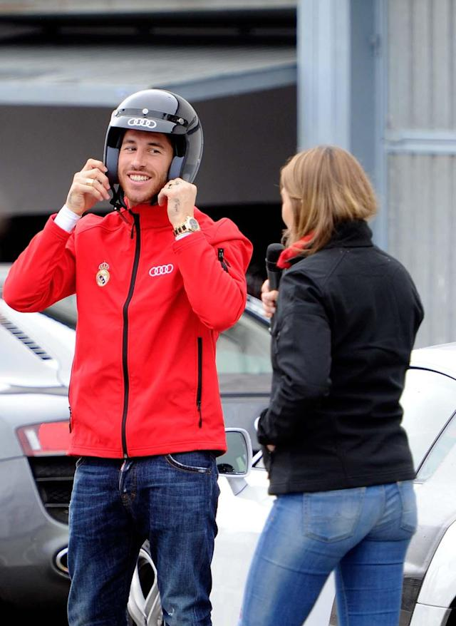 MADRID, SPAIN - NOVEMBER 08: Real Madrid player Sergio Ramos attends Real Madrid and Audi event at the Jarama recetrack on November 8, 2012 in Madrid, Spain. (Photo by Fotonoticias/WireImage)